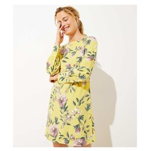Floral Boatneck Shift Dress - bright celery/yellow